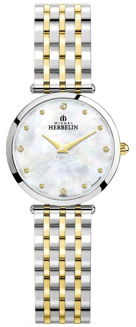 Michel Herbelin Epsilon   Mother Of Pearl Dial   Two Tone Steel Bracelet 17116/BT89