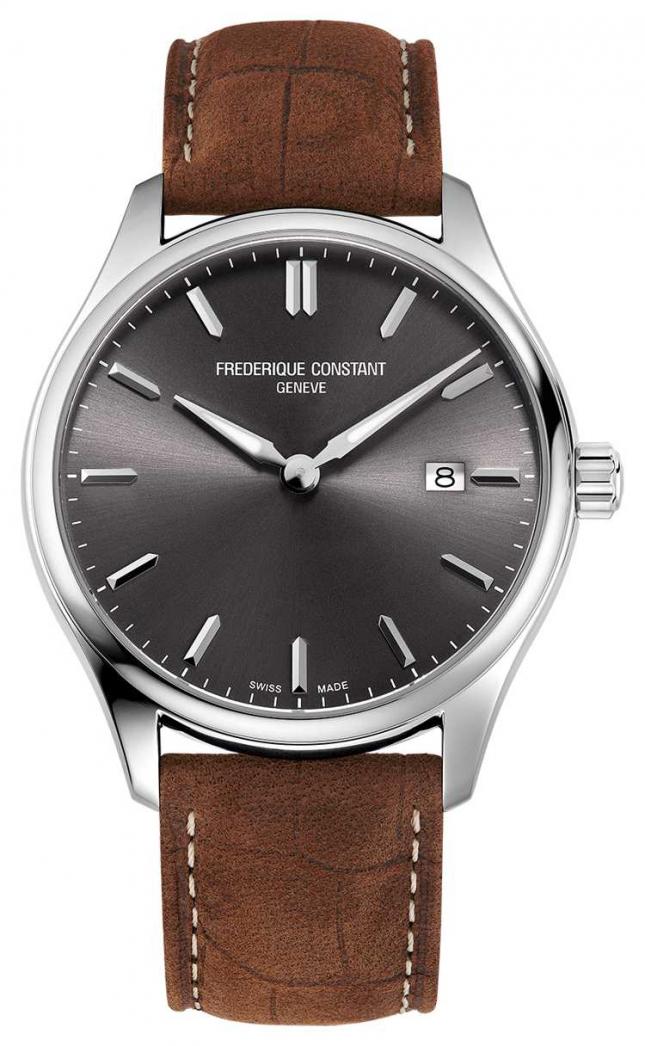 Frederique Constant Classics Quartz   Brown Leather Strap   Grey Dial FC-220DGS5B6