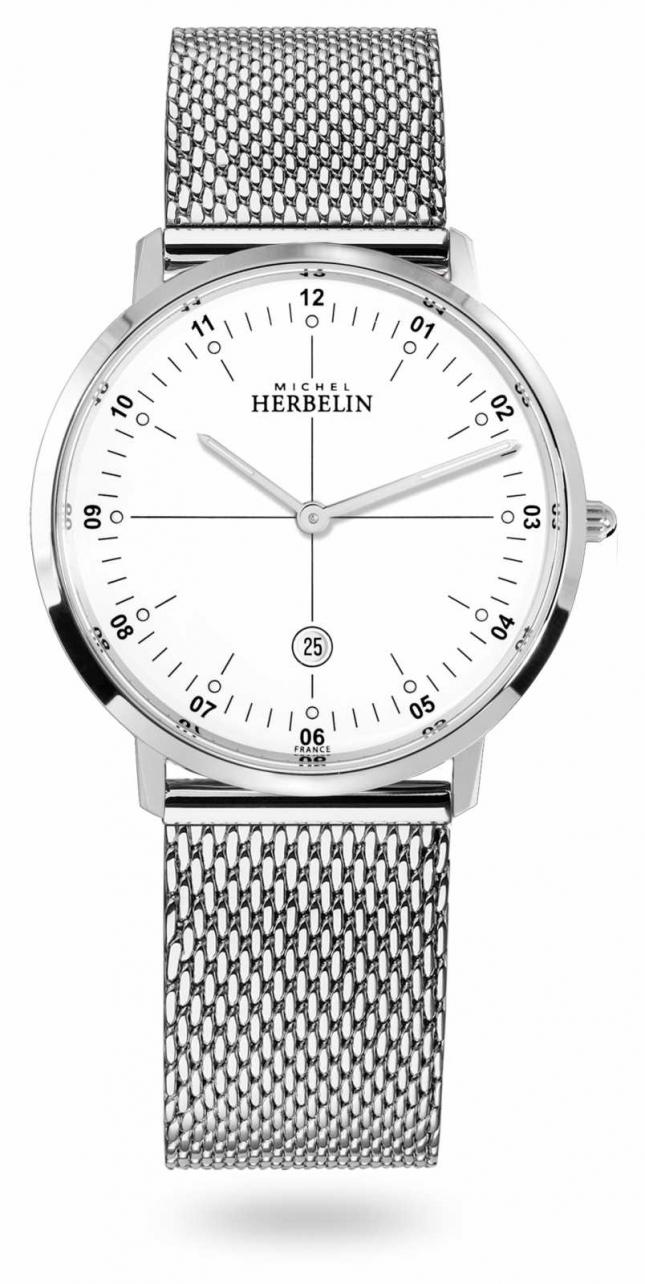 Michel Herbelin City Stainless Steel Milanese Mesh Bracelet White Dial 19515/12B