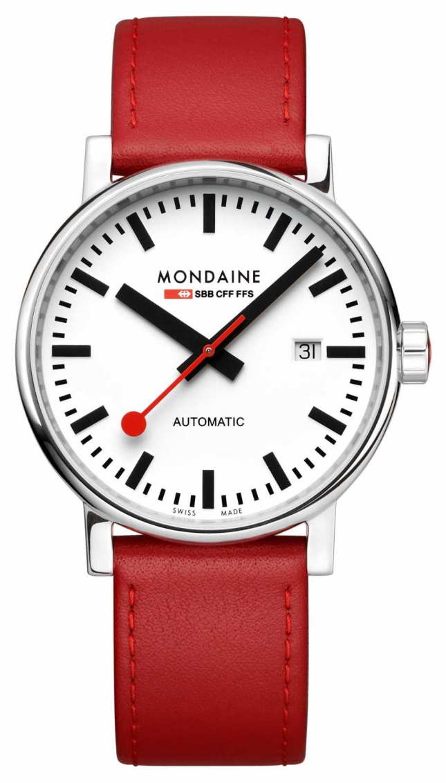 Mondaine Evo2 Automatic 40mm | Red Leather Strap | White Dial MSE.40610.LC