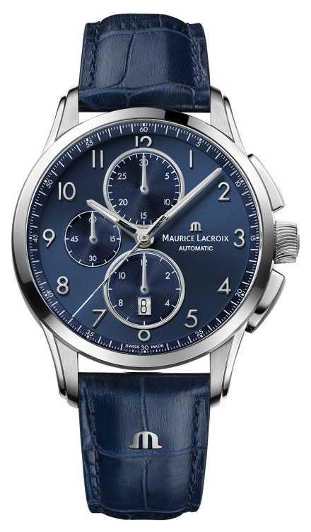 Maurice Lacroix Pontos Chronograph Blue Dial Blue Strap PT6388-SS001-420-4