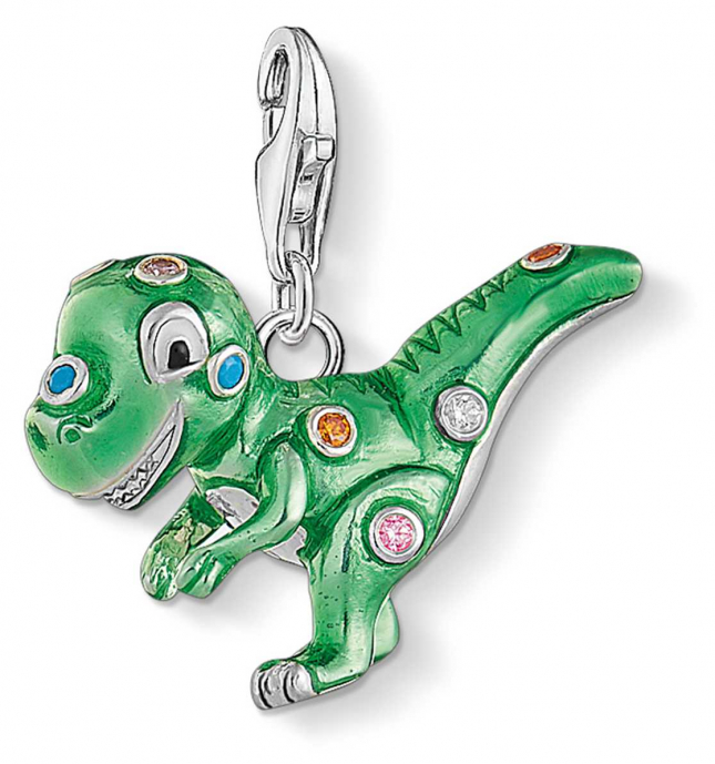 Thomas Sabo Sterling Silver Green 'Dinosaur' Charm Pendant 1695-473-7