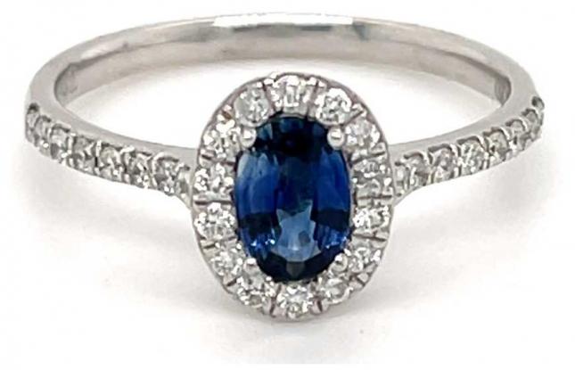 Platinum Oval Sapphire 0.54ct Diamond 0.28ct Halo Shoulders SL8492