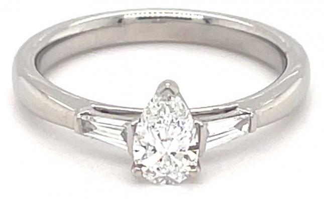 GEMEX Platinum 0.40ct D VS1 0.55ct Total Pear Baguette 3 Stone Ring TRL32362