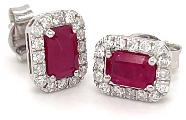 18ct White Gold Emerald Cut Ruby Diamond Cluster Studs 1.40ct Total SE4077