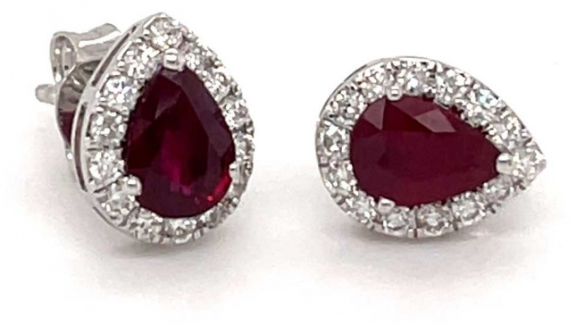 18ct White Gold Pear Ruby Diamond Halo Studs 1.45ct Total SE4942