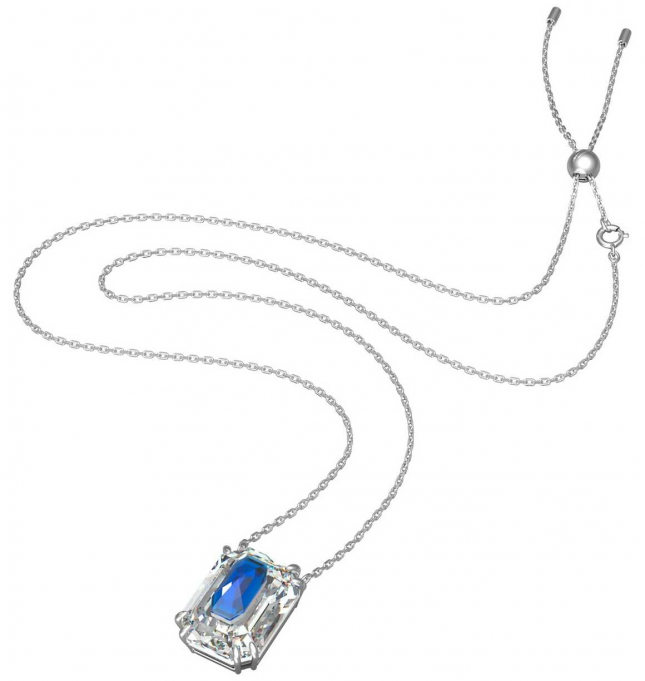 Swarovski Chroma pendant   Octagon Cut Crystal   Blue   Rhodium Plated Necklace 5600625