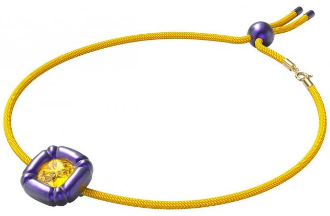 Swarovski Dulcis   Necklace   Cushion Cut Out Crystals   Purple/Yellow 5613645