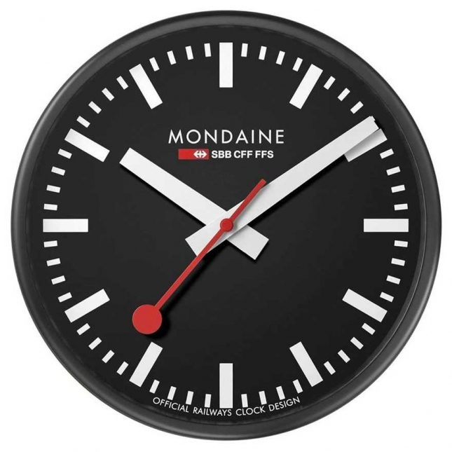Mondaine Classic Wall Clock | Black Case | 25cm A990.CLOCK.64SBB