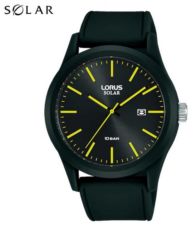 Lorus 42 mm Solar Watch Black Silicone Strap RX301AX9