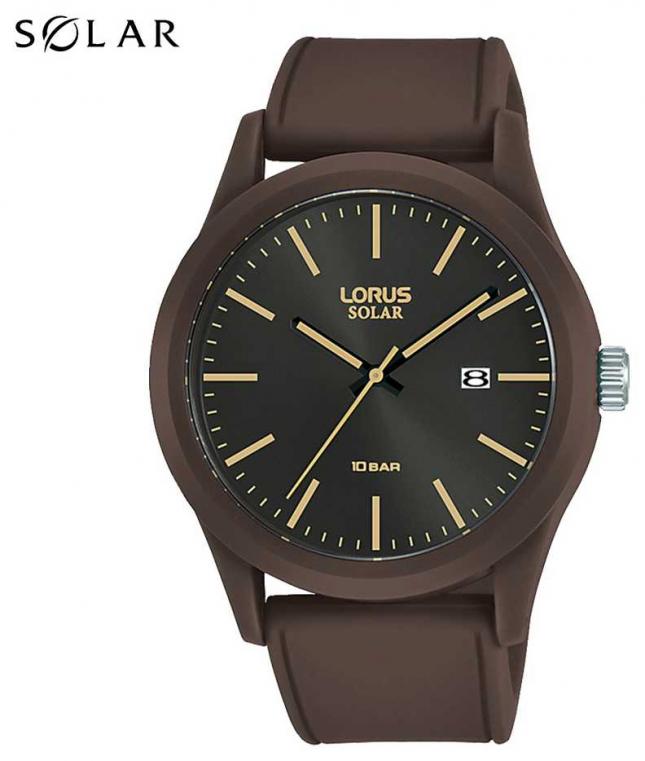 Lorus Sports 42 MM Dark Brown Silicone Strap RX307AX9
