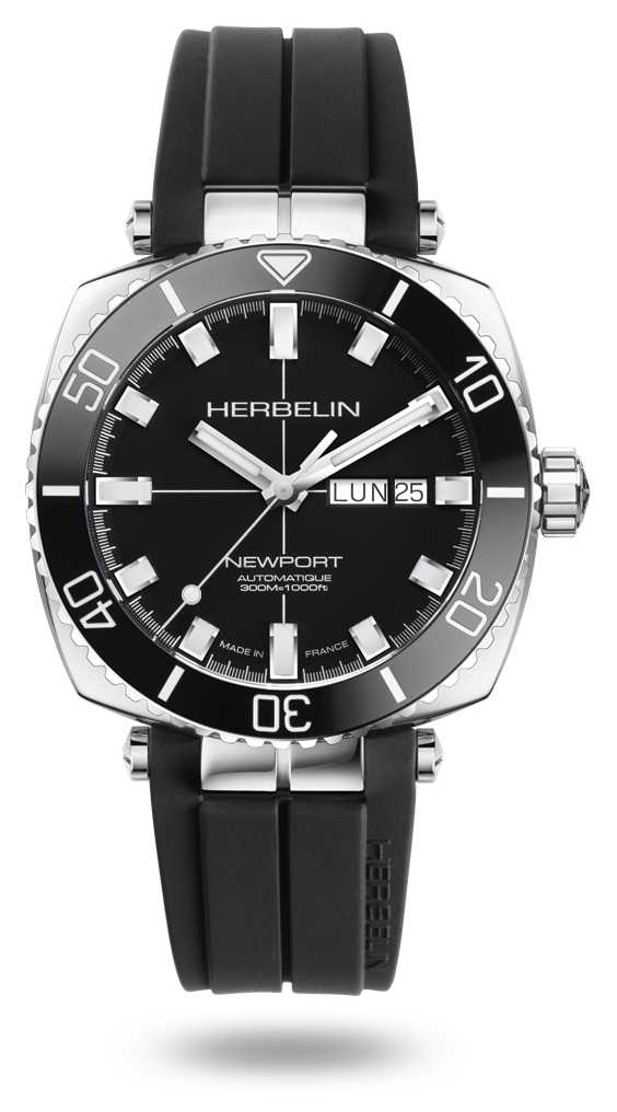 Michel Herbelin Newport Diver Black Rubber Strap Watch 1774/AN14CA
