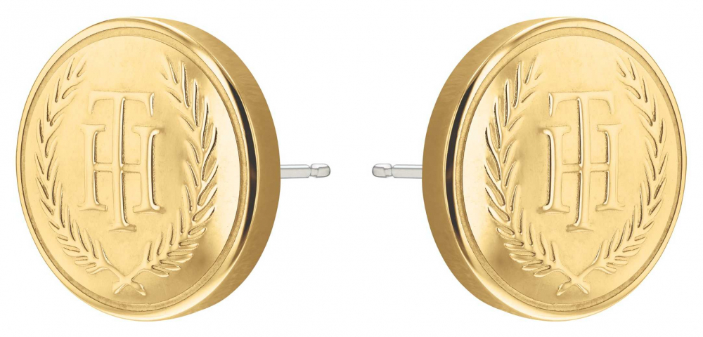 Tommy Hilfiger TH Crest Gold IP Stud Earrings 2780381