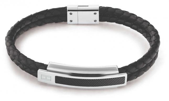 Tommy Hilfiger Pique Black Leather Bracelet 2790357