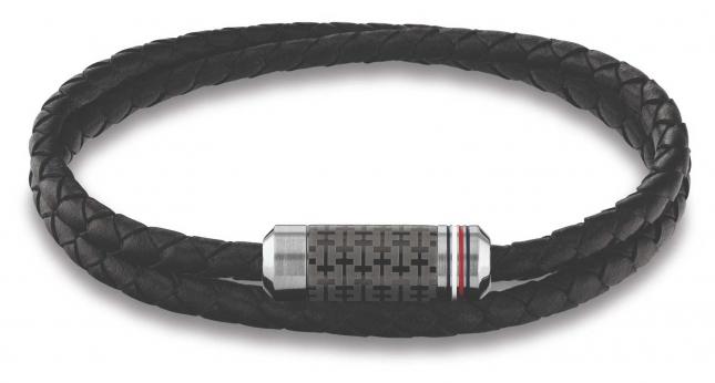 Tommy Hilfiger Wrap Braided Leather Bracelet Black 2790327