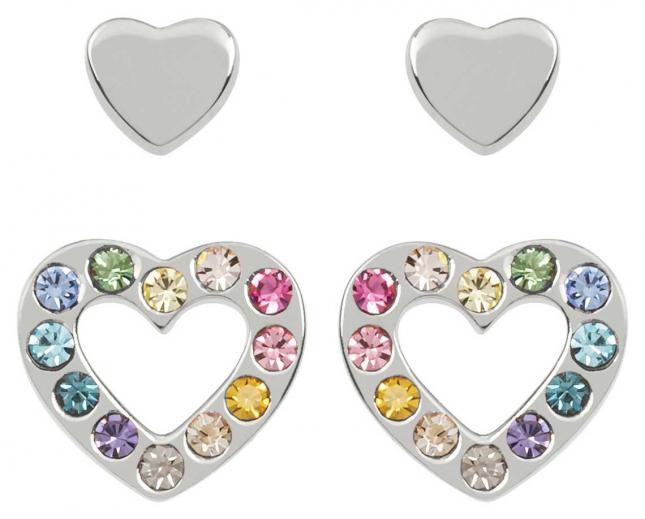 Radley Jewellery Love Radley | Sterling Silver Hearts Stud Earring Set | Multicolored Stones RYJ1175