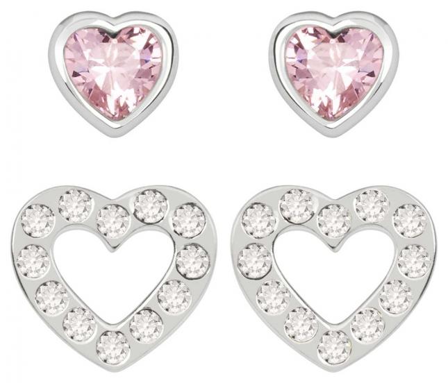 Radley Jewellery Love Radley   Sterling Silver Hearts Stud Earring Set   White And Pink Stones RYJ1177