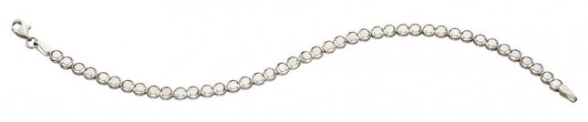 Elements Gold 9ct White Gold Diamond Cut Circle Tennis Bracelet GB503