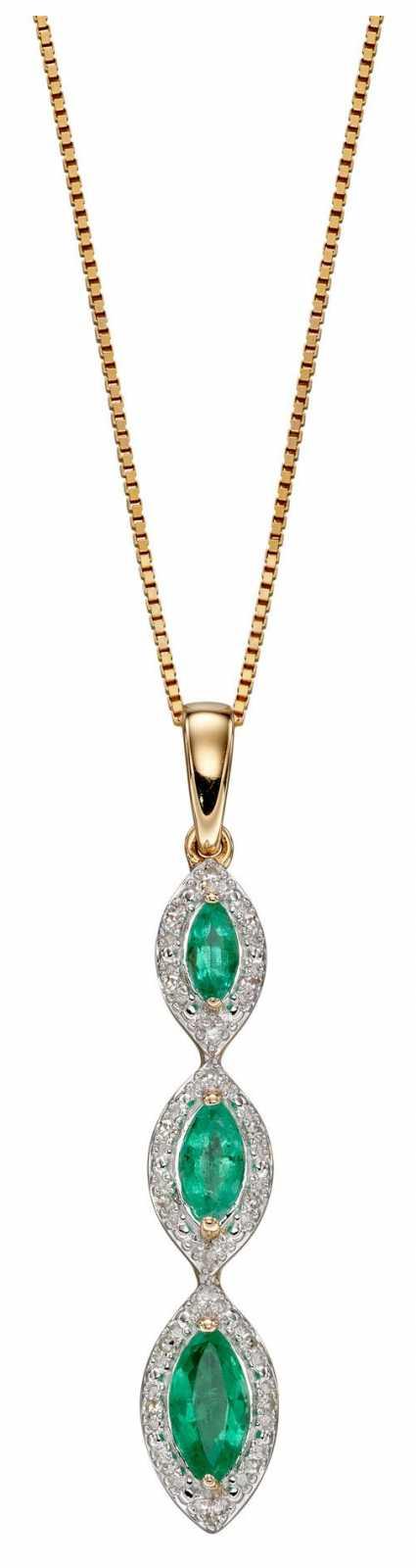 Elements Gold 9ct Yellow Gold Diamond emerald Oval 3 Drop Pendant GP2240G