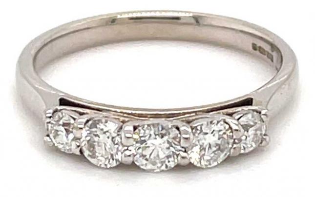18k White Gold 5 Stone Diamond Ring JM5872