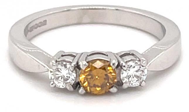 18k White Gold Yellow Sapphire Diamond Ring JM4334