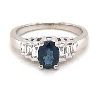 18k White Gold Diamond Sapphire Ring JM2263