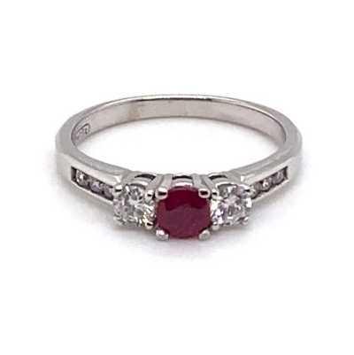 18k White Gold Diamond Ruby Ring JM9844