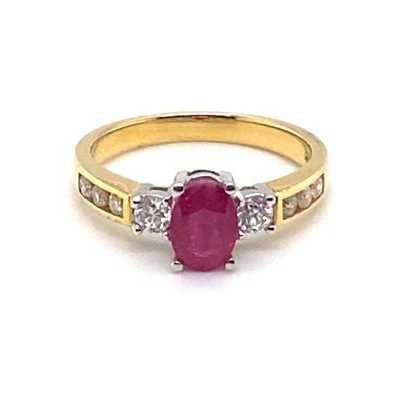 18ct Yellow Gold Diamond and Ruby Ring JM7054
