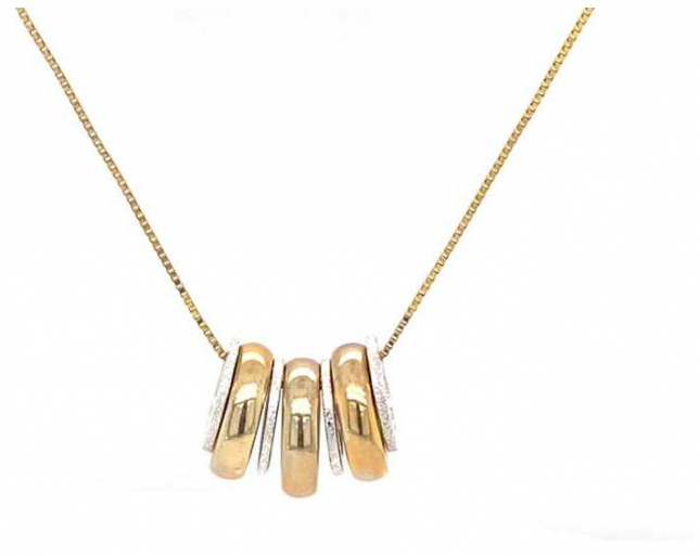 9k White and Yellow Gold Pendant + Chain JM3270